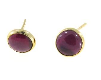 14 K Real Gold Earrings, Purple Stud Earrings, Gold Earrings, Stud Earrings, Purple Earrings, 14k Gold Earrings, Gold Jewelry