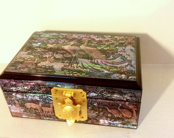 Lacquerware Mother of Pearl Inlaid Jewelry Box