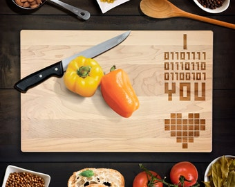 Custom Cutting Board I LOVE YOU Binary code Geek-theme Wedding or Anniversary Gift Cutting Board Maple Chopping Block CB0092