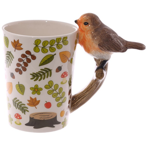 Coffee Cup Fun Robin Shaped Handle Bird Ceramic By