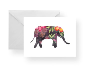 Note Cards Elephant (Set), elephant stationery, stationery, animal note cards, animal stationery, elephant and flowers, floral, jungle