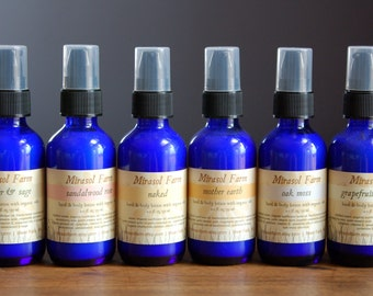 Handmade Lotion with organic oils and essential oils. Sample size. Travel size. 2 ounce cobalt blue glass bottle.