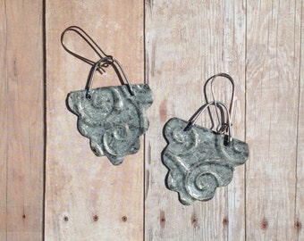 Distressed, embossed metal earrings, handmade earrings