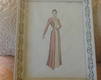 SALE REDUCED!  fashion watercolor drawing, original, framed, Art Deco