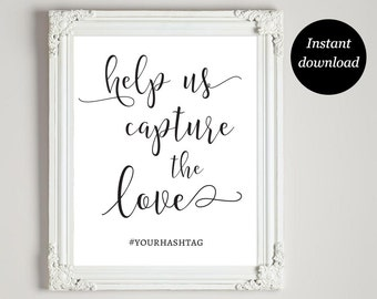 Wedding Hashtag Sign Printable, Hashtag Wedding Sign, Wedding Hashtag, Instagram Wedding Sign, Help Us Capture The Love,Instant Download