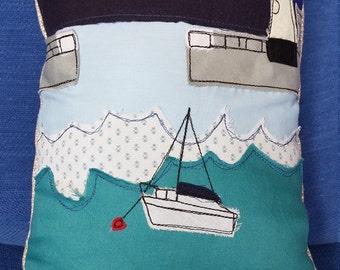 Mevagissey harbour cushion