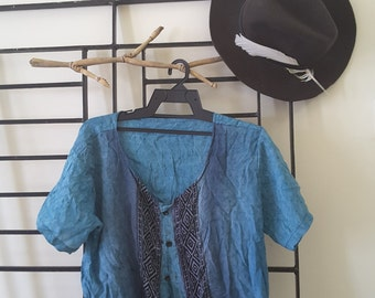 blue and black pattern top