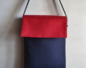 Red and blue textile bag