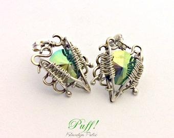 Silver wire wrapped Earrings Greyen, Silver wire wrapped jewelry, silver swarovski Earrings