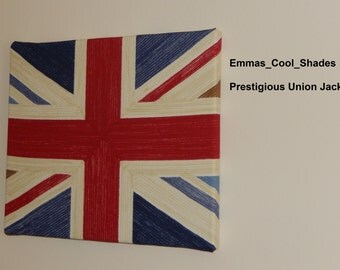 New Handmade Canvas / Wall Hanging Picture - Prestigious Union Jack Fabric - Red Blue Jubilee Queen
