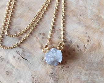 Druzy Stone // White Geode // Gold Plated // Necklace // Geode // Natural Dainty Pendant Gold Plated