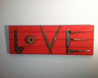 Vintage Tool LOVE Wall Hanging