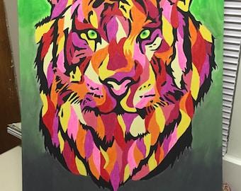 Large Colorful Wildcat Canvas