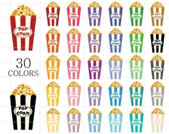 popcorn clipart, popcorn clip art, colorful popcorn clipart, rainbow popcorn clipart, digital popcorn, movie clipart, pop corn clipart