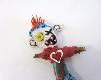Punk Voodoo Doll, Outsider Art, Pin Doll or Poppet, Birthday Gift, Teen Doll, Mixed Media, Anger Management Doll, Found Objects Doll