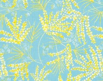 "Dena Designs FreeSpirit Cotton Fabric   ""Painted Garden"" - Fern  Aqua"