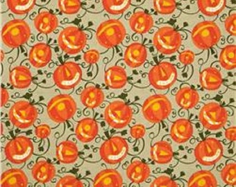 "David Walker FreeSpirit  Cotton Fabric    ""Happy Halloween""  Pumpkin Patch"