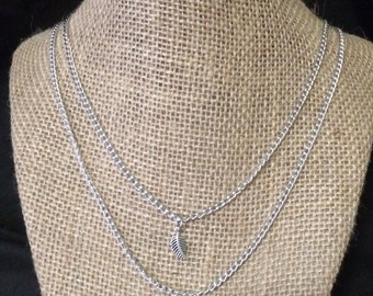 Double Chain Necklace • Sterling Silver Leaf• Charm •