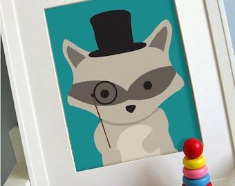 raccoon printable 8x10 children's art, Instant Download Printable Animal Nursery Decor, Children's playroom art