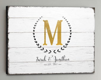 Wedding Guest Book Wood - 30-150 Guests - Gold Wedding Guestbook Rustic Alternative Guestbook Wreath Wedding Guestbook CANVAS - White
