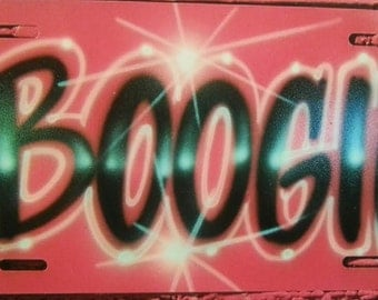 Red print style custom airbrushed aluminum car tag