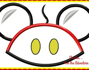 Mickey Mouse Ears Hat Applique Digital Embroidery Machine  Design File 4x4 5x7 6x10