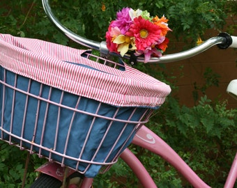 Pink and Blue Bicycle Basket Liner