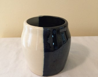 B & W Ceramic Candle Holder
