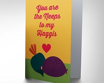 Romantic Card - Neeps Haggis Love Scottish Valentines Greeting Card CP1664