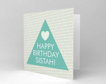 Sister Birthday Card - Cool Happy Birthday Sister Sistah Heart Blank Card Cs1830