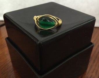 Green/Gold Ring Wire Wrapped - Size 8.5