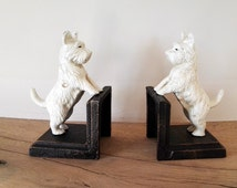 Cast iron book ends: maltese dog