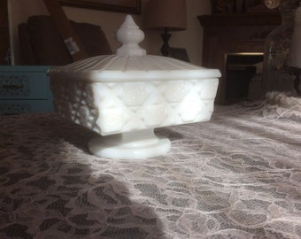 Westmoreland milk glass covered compote/candy dish