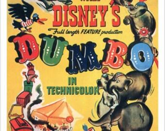 Walt Disney's Dumbo Movie Poster 1941 24x36 Vintage Cartoon Rare Collectible