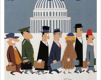 Washington DC Braniff International Airways Vintage Poster US 1960 24x36 Gem