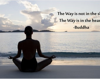 Yoga On The Beach Poster Peaceful Serene Buddha Quote Water Sky Heart 24x36