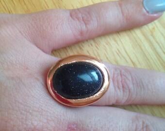 Blue Goldstone Adjustable Ring