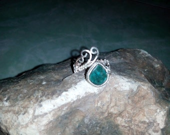Chrysocolla Wire Wrapped Ring - Adjustable Ring - Wire Jewelry  -  RC21601