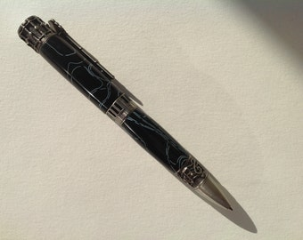 Music pen, musicians gift, antique pewter and black and white acrylic.music themed pen.