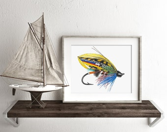Watercolor Trout Fly, Fly Fishing Gifts, Fishing Lure Art, Fishing Gifts for him, Art for Man Cave, Fly Fishing Decor, Fishing Flies