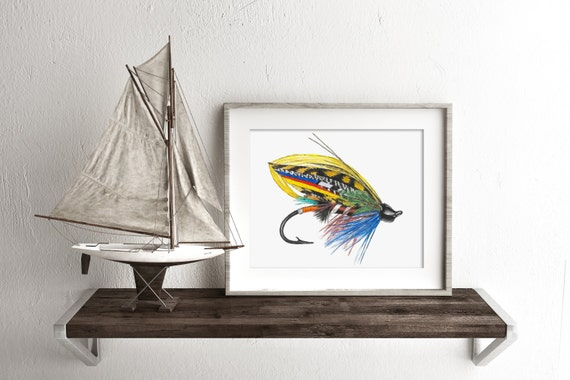 Watercolor trout fly fly fishing gifts fishing lure art for Fly fishing decor