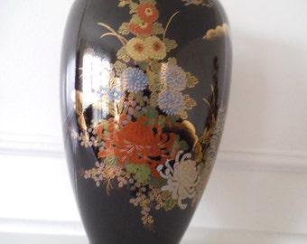 Vintage Black Japanese Vase with  Floral Motif Glamorous Zen Home Decor at Bohemian Angel