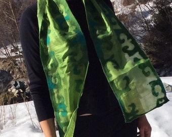 Nuno felted scarf, wool, silk, green