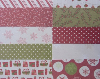 12 Dovecraft Back To Basics Christmas 6x6 Papers For Cardmaking & Scrapbooking