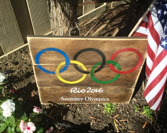 Olympic Sign, wood pallet sign, olympic gift, Rio 2016, summer olympics, olympic rings