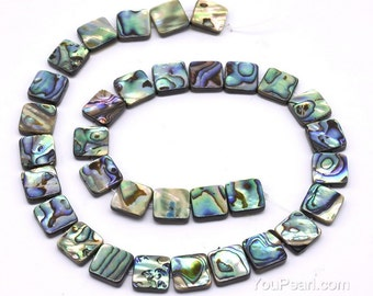 12x12mm abalone paua shell,  genuine square abalone shell beads, multi color paua shell strand for jewelry making, necklace, ABA1105