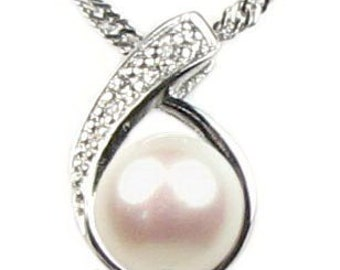 White pearl pendant, freshwater pearls 925 sterling silver pendant, cultured real pearls pendant necklace 7-8mm, F1110-WP