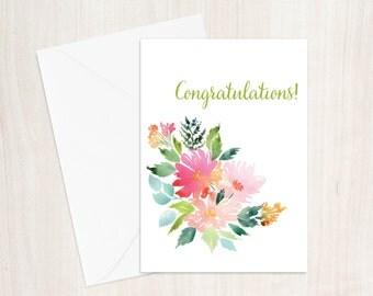 Congratulations Floral Watercolor Greeting Card