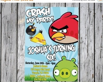 Angry Birds Invitation, Personalized Angry Birds Printables, Angry Birds Birthday, Angry Birds Invite, Angry Birds Party Favors