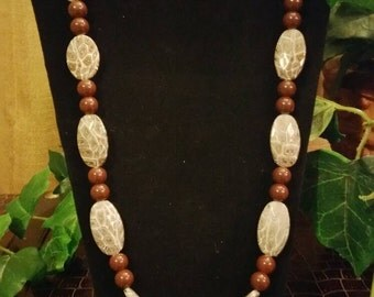 Brown Animal Print Necklace,  Bracelet,  and Earring Set